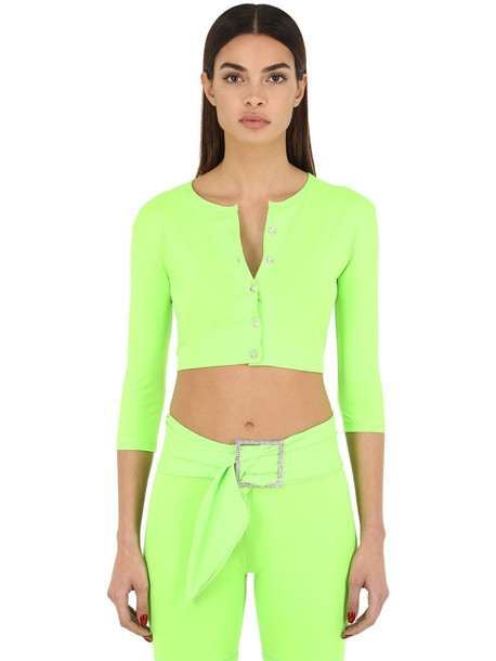 AYA MUSE Cropped Nylon Micro Cardigan in green
