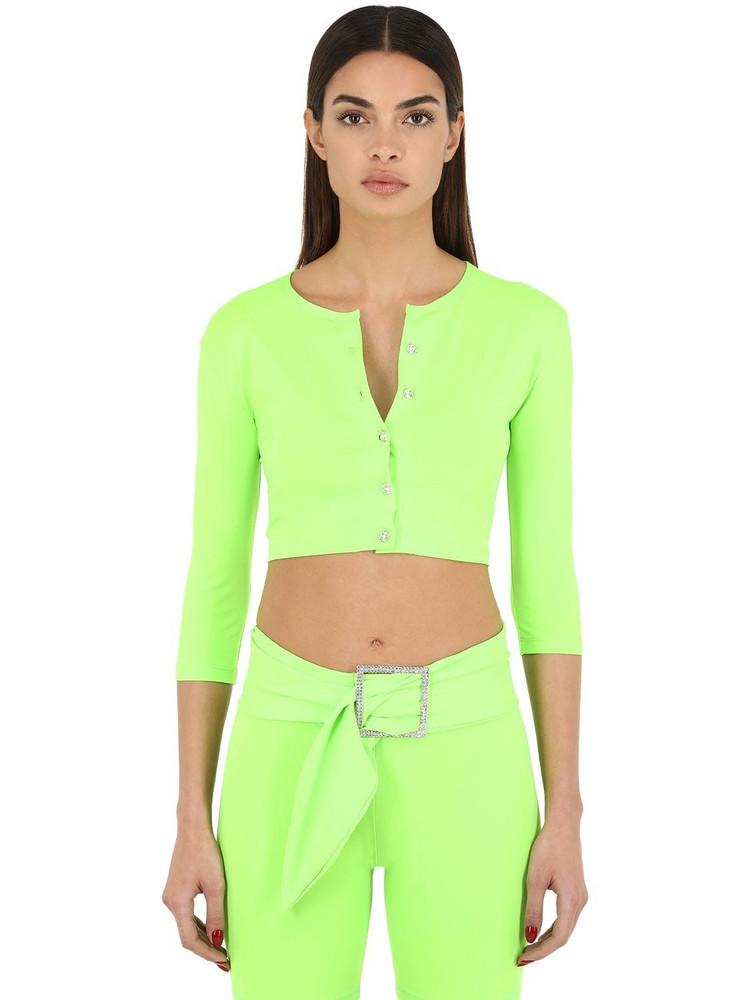 AYA MUSE Cropped Nylon Micro Cardigan in green
