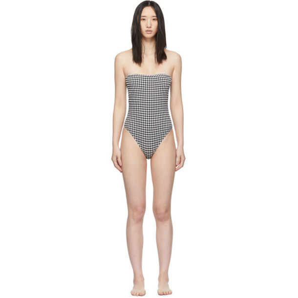 Solid and Striped Black and White Gingham The Madeline One-Piece Swimsuit