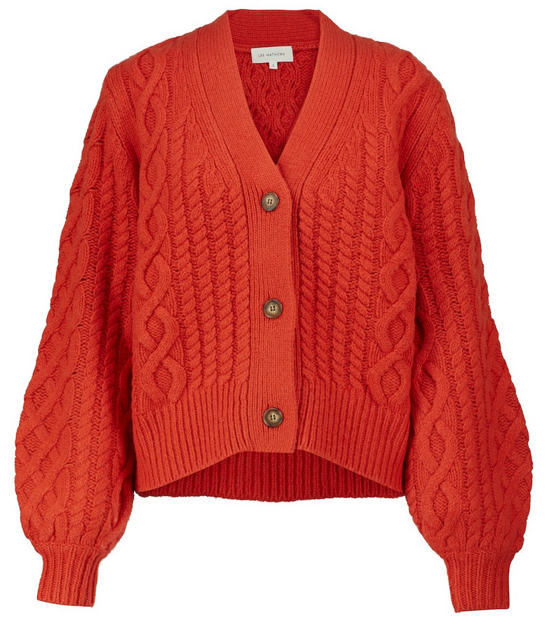 Lee Mathews Stanford cable-knit cardigan in red