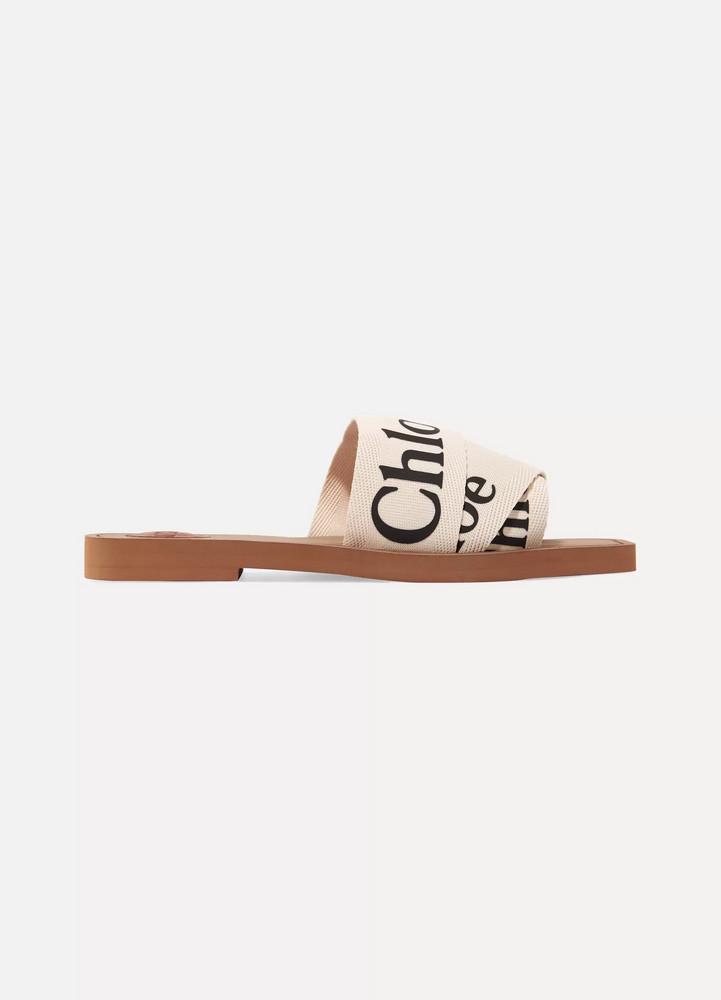 CHLOÉ CHLOÉ - Woody Logo-print Canvas Slides - White