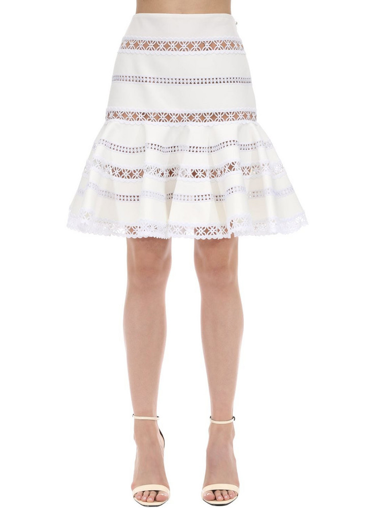 INGIE PARIS Ruffled Lace & Cady Mini Skirt in white
