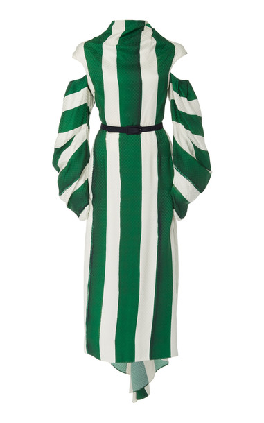 Hellessy Verushka Cold-Shoulder Striped Column Dress in green