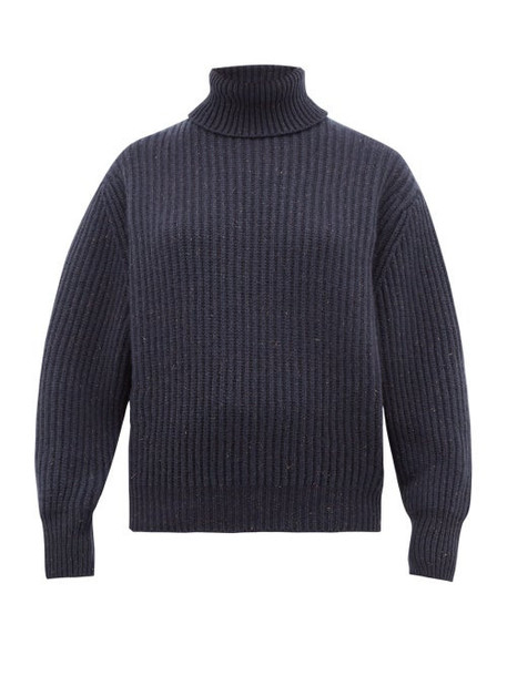 Brunello Cucinelli - Roll Neck Cashmere Blend Sweater - Womens - Blue Multi