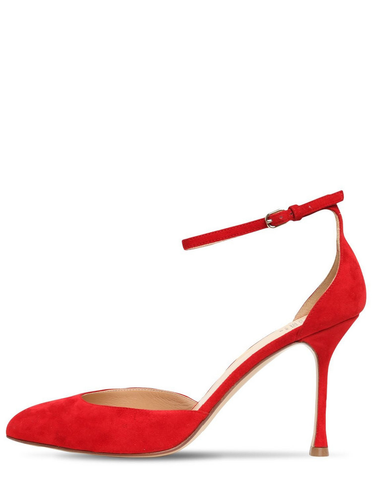 FRANCESCO RUSSO 90mm Suede Pumps in red