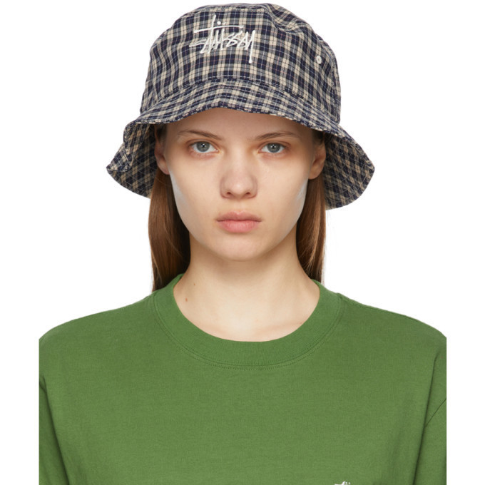 Stussy Multicolor Basic Plaid Bucket Hat in white