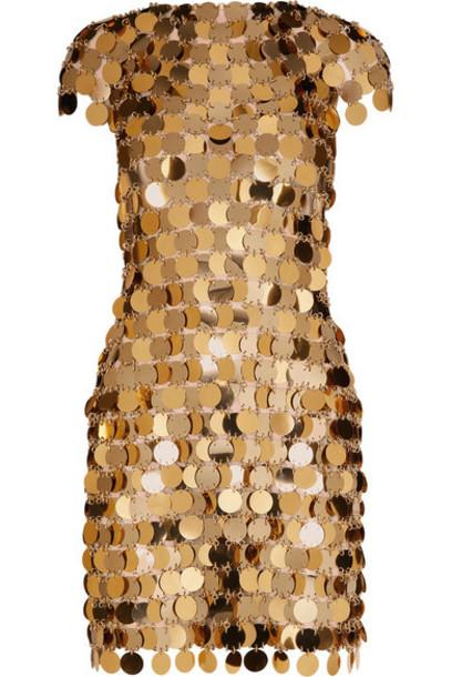 Paco Rabanne - Embellished Metallic Mini Dress - Gold