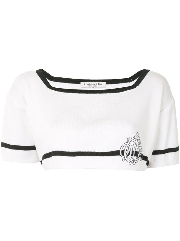 Christian Dior pre-owned embroidered logo cropped blouse in white