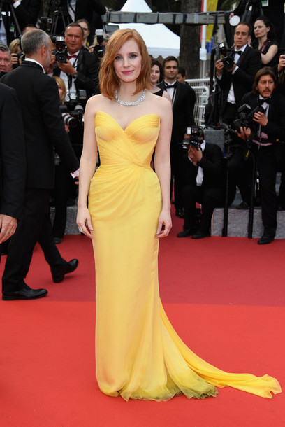 dress strapless strapless dress yellow yellow dress jessica chastain gown prom dress red carpet dress red carpet bustier dress bustier cannes