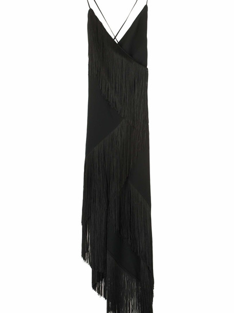Givenchy Fringed Asymmetric Wrap-dress in black
