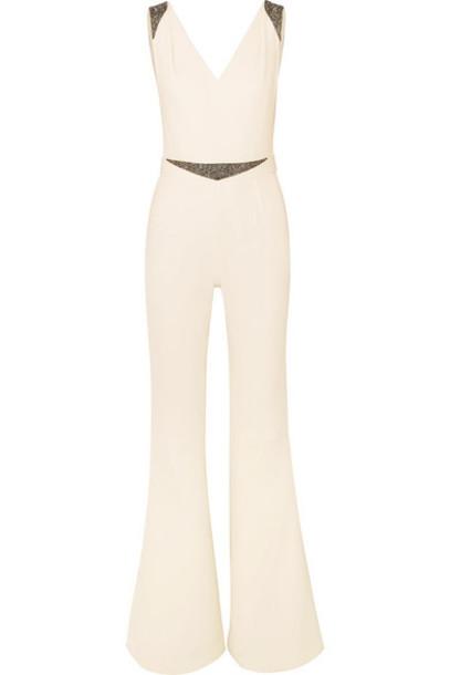 Safiyaa - Draped Embellished Crepe Jumpsuit - Ivory