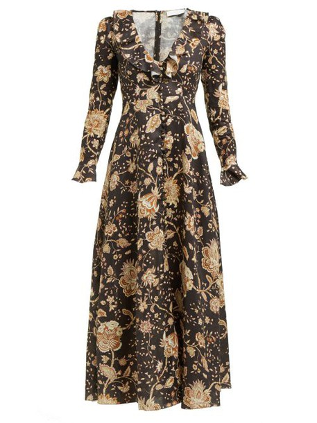 Zimmermann - Veneto Floral Print Linen Dress - Womens - Brown