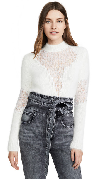 Unravel Project Wool Crew Neck Sweater in white