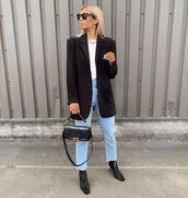 jacket,black blazer,black boots,straight jeans,black bag,white t-shirt
