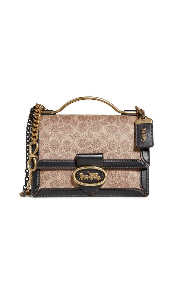 Coach 1941 Signature Riley Top Handle 22 in black / tan