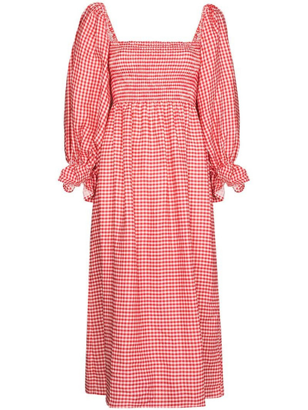 Sleeper gingham check print midi dress in red