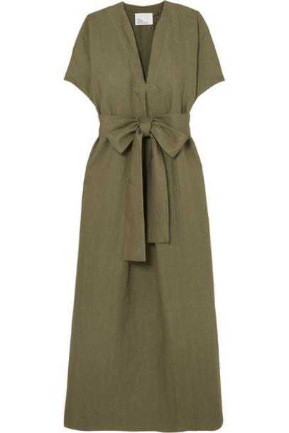 Lisa Marie Fernandez - Rosetta Belted Linen Maxi Dress - Army green