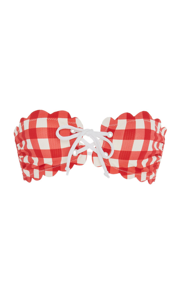 Marysia Swim Antibes Tie-Detailed Gingham Bandeau Bikini Top in red