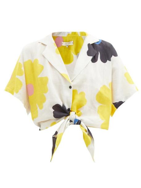 Cala De La Cruz - Marcy Tie-front Floral-print Linen Shirt - Womens - Cream Print