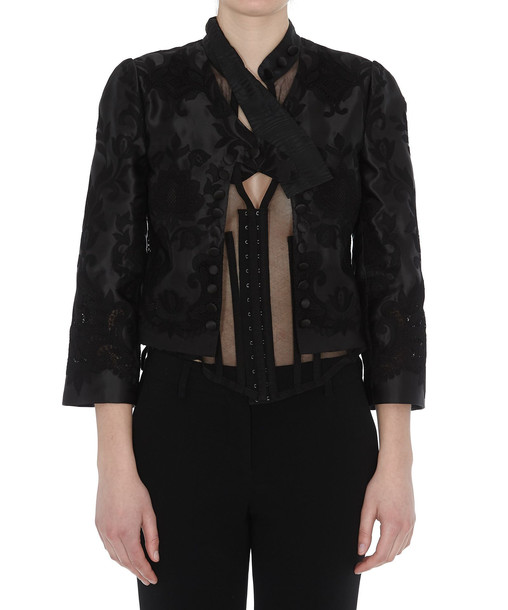 Dolce & Gabbana Organza Jacket With Embroidery in black