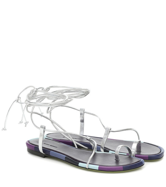 Isabel Marant Jeiro metallic leather sandals in silver