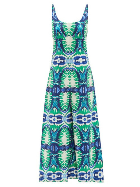 Le Sirenuse, Positano - Cindy Fish Tail-print Cotton-poplin Jumpsuit - Womens - Green Print