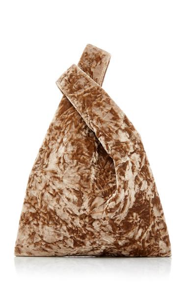 Hayward Folded Velvet Mini Shopper in brown