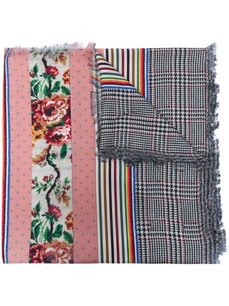 Pierre-Louis Mascia multi-pattern panelled silk scarf in pink