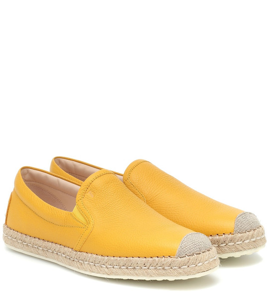 Tod's Leather espadrilles in yellow