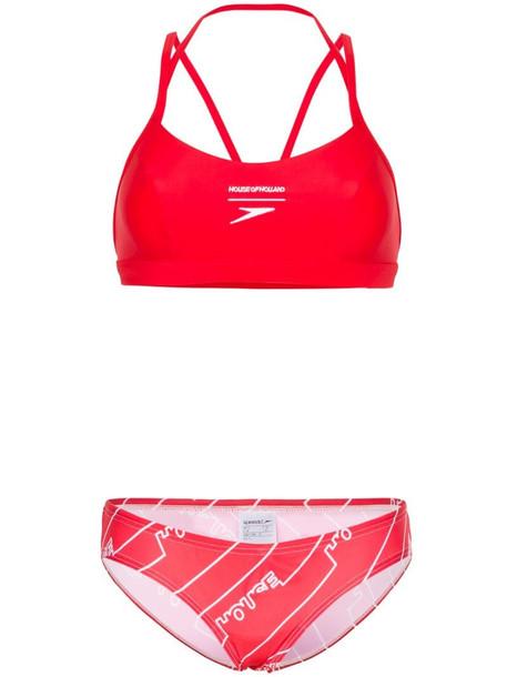House of Holland logo print bikini in red