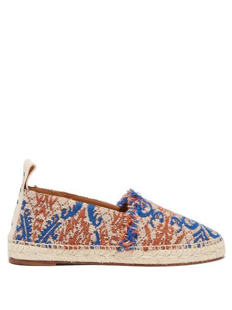 Chloé Chloé - Frayed Tapestry Espadrilles - Womens - Blue Multi