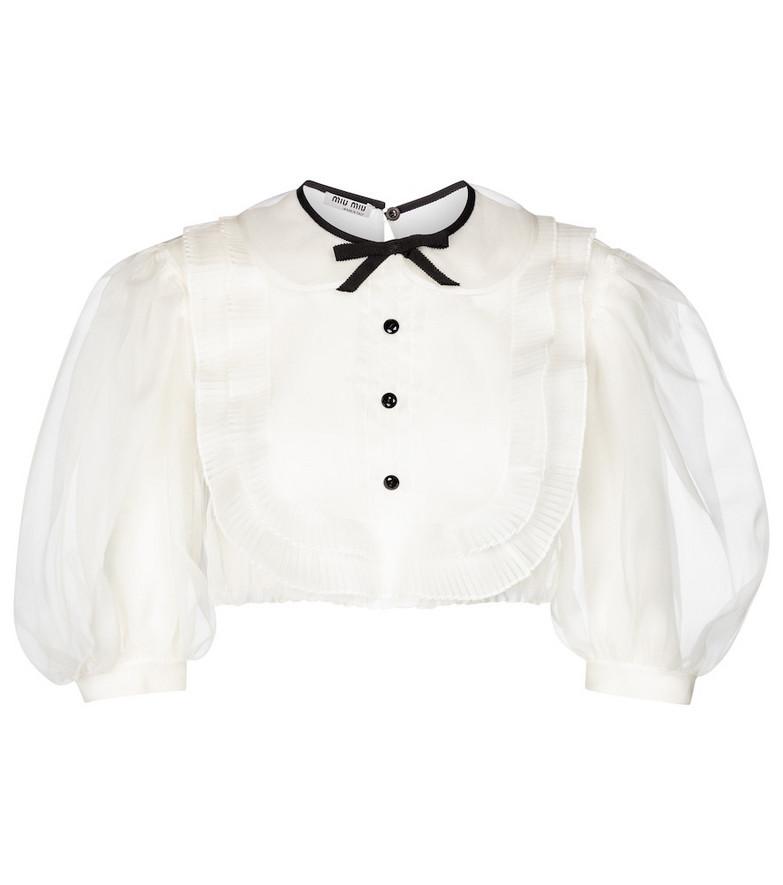 Miu Miu Cropped silk organza blouse in white