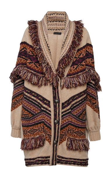 Etro Fringed Wool-Blend Cardigan Jacket in neutral