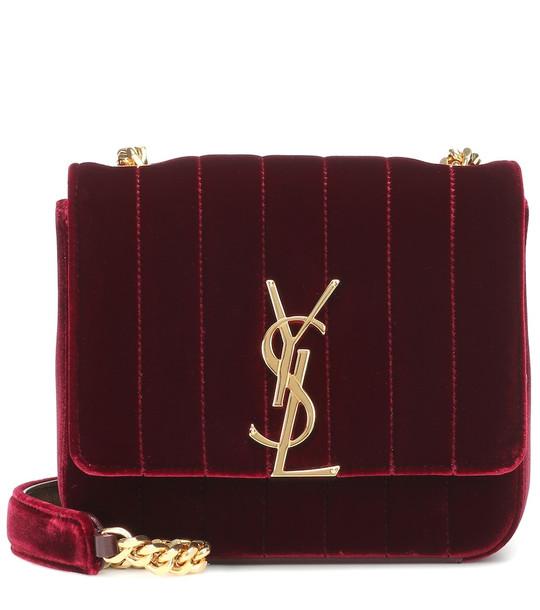 Saint Laurent Vicky Small velvet shoulder bag in red