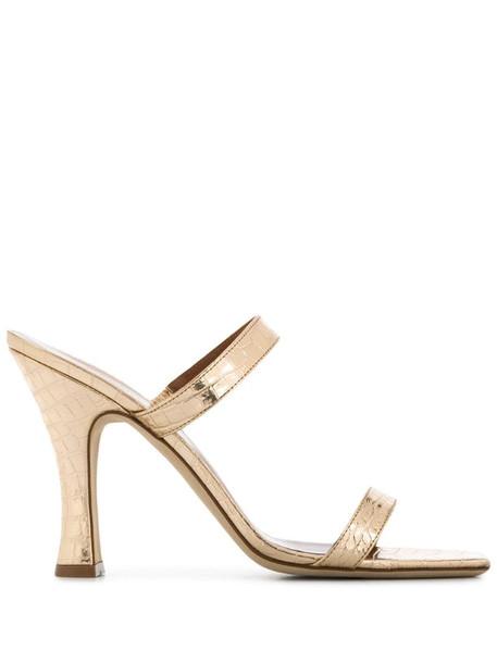 Paris Texas crocodile-effect double-strap mules in gold