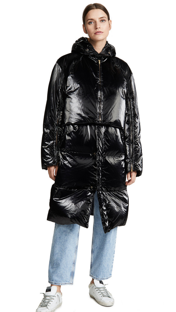 Toga Pulla Shiny Down Coat in black