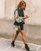 shoes,black boots,ankle boots,mini skirt,print,blouse
