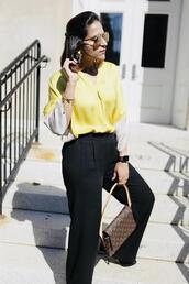 tanvii,blogger,top,pants,shoes,sunglasses,bag,yellow shirt,louis vuitton bag,office outfits