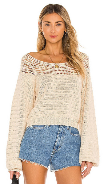 AMUSE SOCIETY Stevie Long Sleeve Knit Sweater in Tan in white