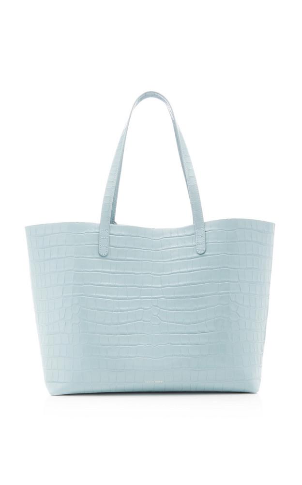 Mansur Gavriel Croc-Embossed Leather Tote Bag in blue
