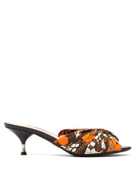Prada - Flower Print Twist Front Mules - Womens - Brown Multi