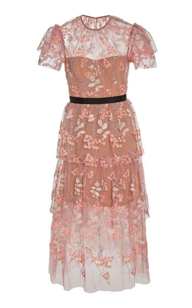 Self Portrait Floral-Embellished Tulle Midi Dress Size: 6 in pink