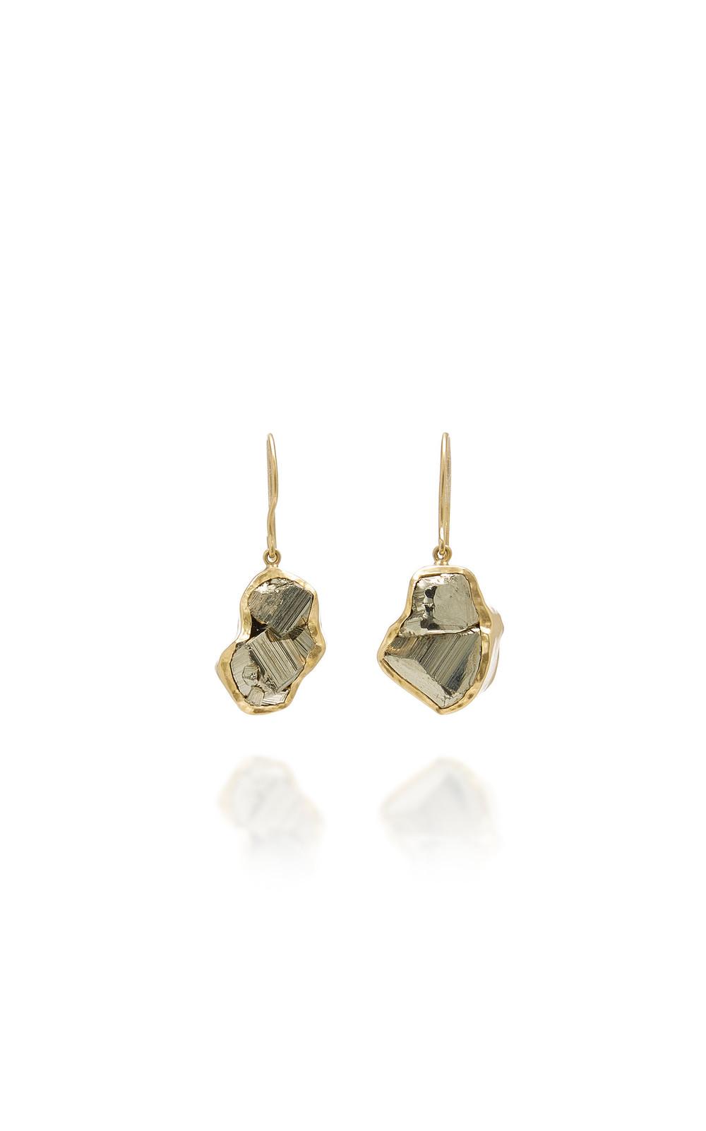 Pippa Small Dazzle Single Drop Pyrite Earrings in gold