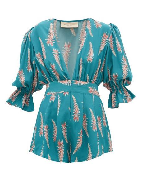 Adriana Degreas - Aloe Print Silk Crepe Playsuit - Womens - Blue Print