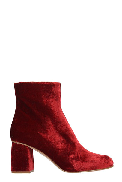 RED Valentino Ankle Boots In Bordeaux Velvet