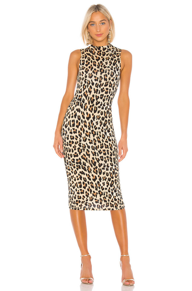 Alice + Olivia Delora Sleeveless Fitted Mock Neck Dress in brown