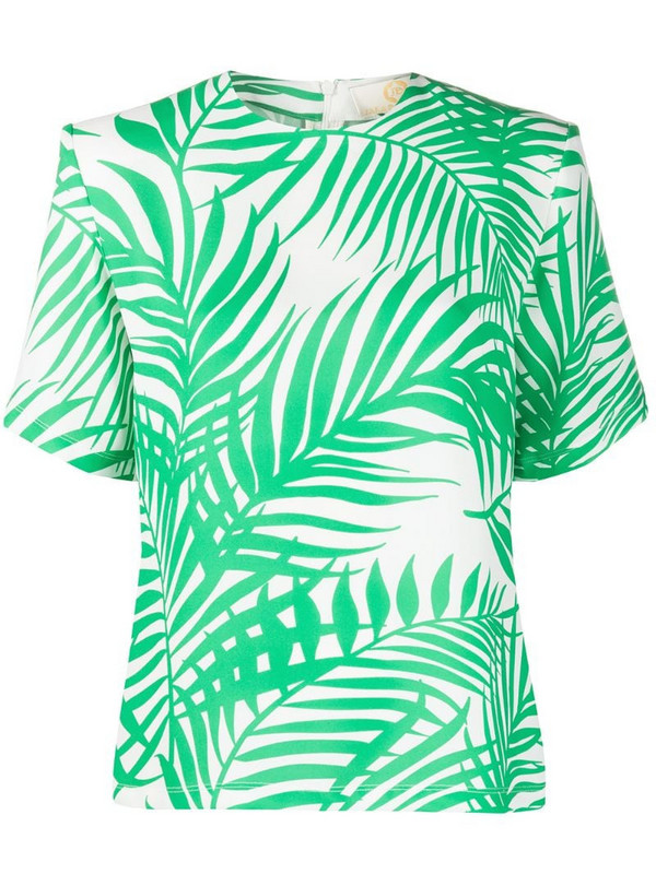 Sara Battaglia palm leaf printed crepe blouse in green