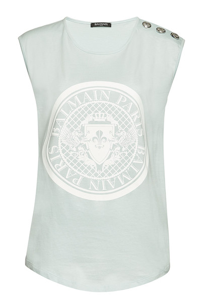 Balmain Cotton Tank with Embossed Buttons  in pink