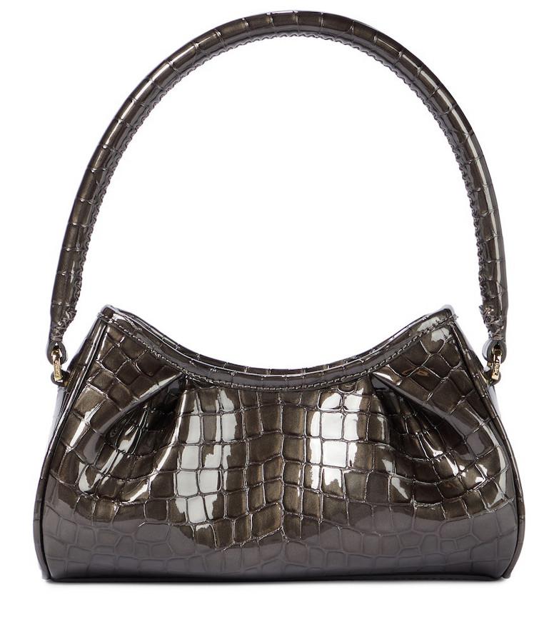 Elleme Dimple Small croc-effect leather shoulder bag in grey