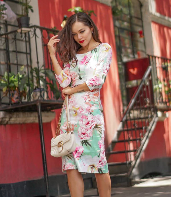 dress floral dress midi dress long sleeve dress gucci bag